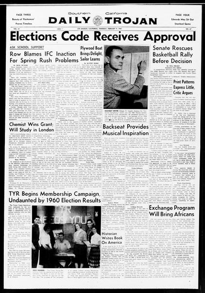 Daily Trojan, Vol. 52, No. 67, February 09, 1961