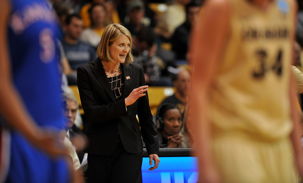 . BOULDER, CO. - MARCH 23: Head Coach Linda Lappe of Colorado Buffaloes is in the first round of the 2013 NCAA women\'s Basketball Tournament game against Kansas Jayhawks at Coors Events Center. Boulder, Colorado. March 23, 2013. Kansas won 67-52. (Photo By Hyoung Chang/The Denver Post)