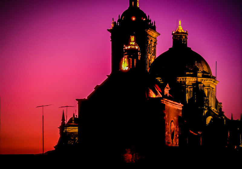 Cathedral at Sunset, city of Puebla, Mexico