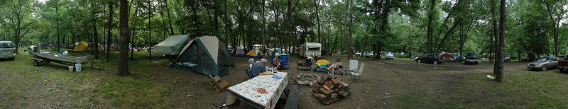 Panoramic of overcrowded campground.  10 photos stitched together.  You have to see the original size picture to appreciate this.