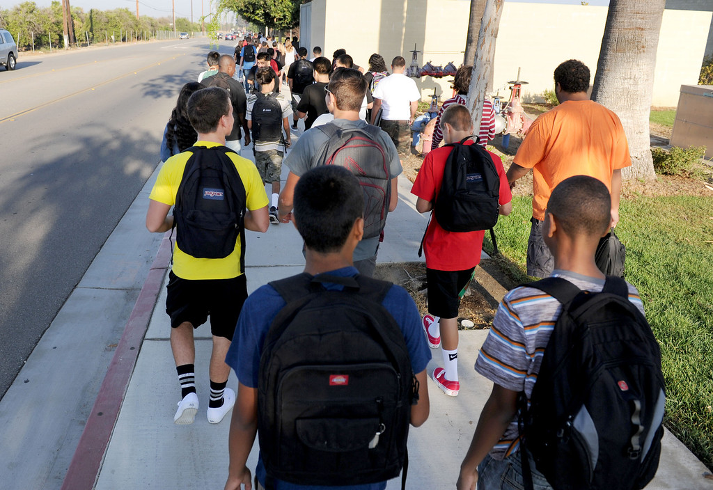 . (John Valenzuela/Staff Photographer) Citrus Valley High School students return to campus after the summer break, for the start of a new school year. The 2013-2014 school year begins August 14 for all schools in the Redlands School District.