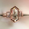 1.96ctw Fancy Golden Brown Hexagon Diamond and Baguette Trilogy Ring 6