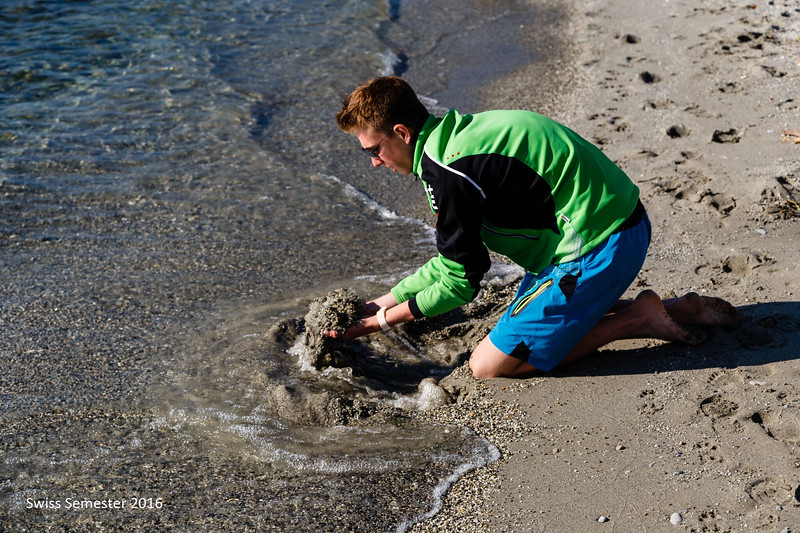 Dylan playing in the water at the end of the bike ride (Vineyard trip)