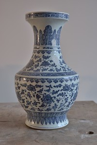 Chanese Cobalt Blue on White Porcelain Vase