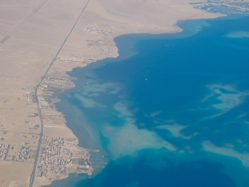 We leave Egypt (the Sinai Peninsula) and head over the Gulf of Aqaba north of the Red Sea.