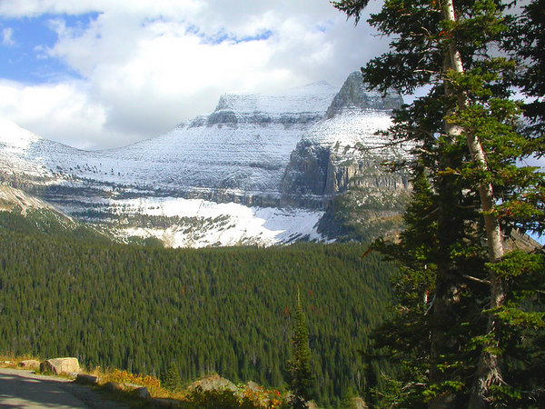 Beautiful views of mountains in Glacier National Park, Montana