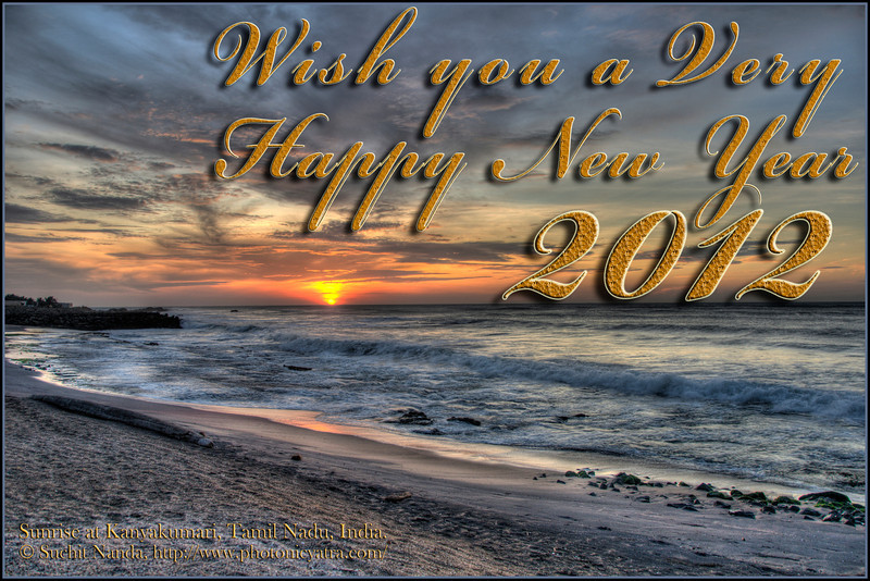 Wish you a Very Happy New Year 2012. Dramatic Sunrise at Kanyakmari, South India.