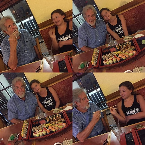 Sushi with grandpa Dickie ... the perfect end to the perfect vacation!