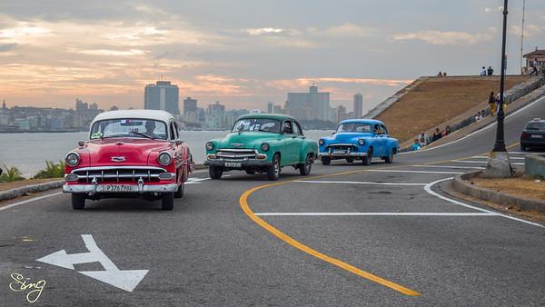 Oldtimers At Sunset. La Habana, Cuba
