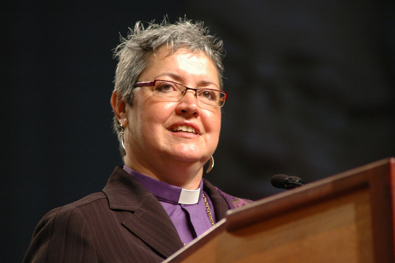 Bishop Susan Johnson, Evangelical Lutheran Church in Canada, greets the assembly.