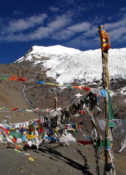 glacier and prayer flags - Tibet