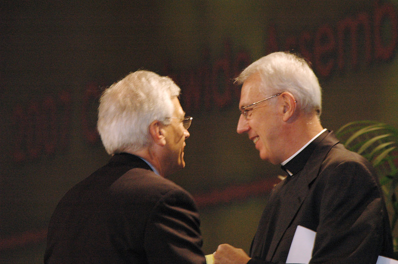 Lowell Almen congratulates David following his election as ELCA secretary.