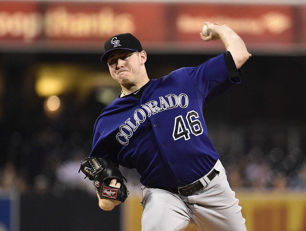 . SAN DIEGO, CA - SEPTEMBER 22:  Tyler Matzek #46 of the Colorado Rockies pitches during the first inning of a baseball game against the San Diego Padres at Petco Park September, 22, 2014 in San Diego, California.  (Photo by Denis Poroy/Getty Images)
