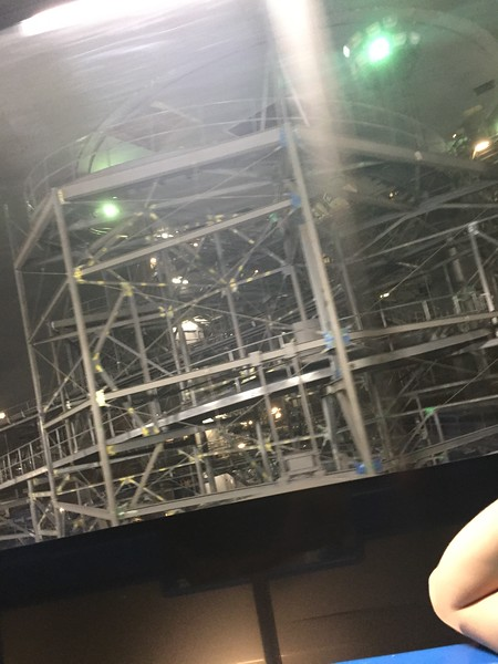 Interior of Space Mountain (with service lights turned on during a temporary shutdown), as seen from the People Mover.