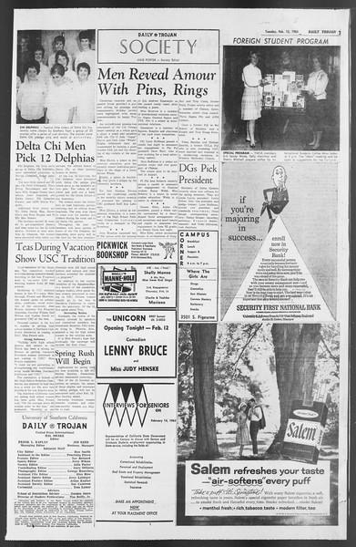Daily Trojan, Vol. 54, No. 60, February 12, 1963