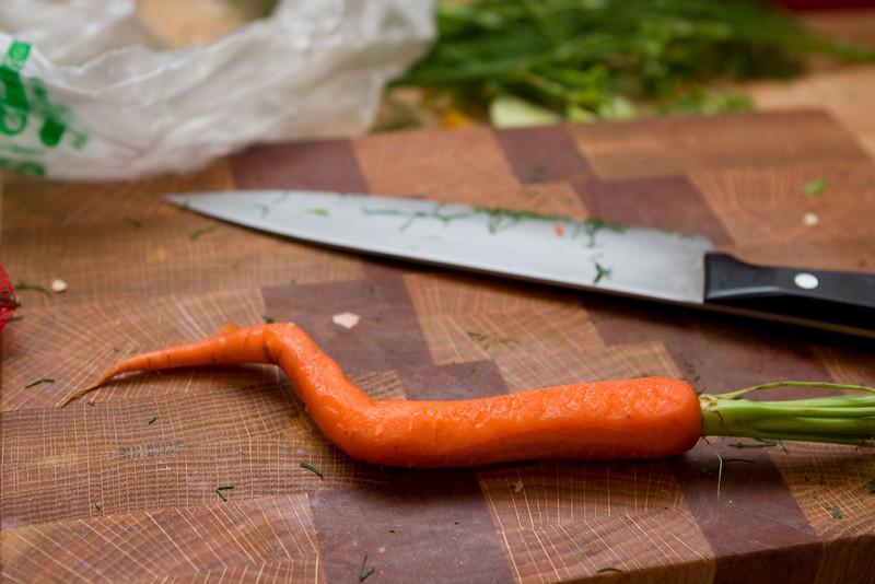 Bent carrot.