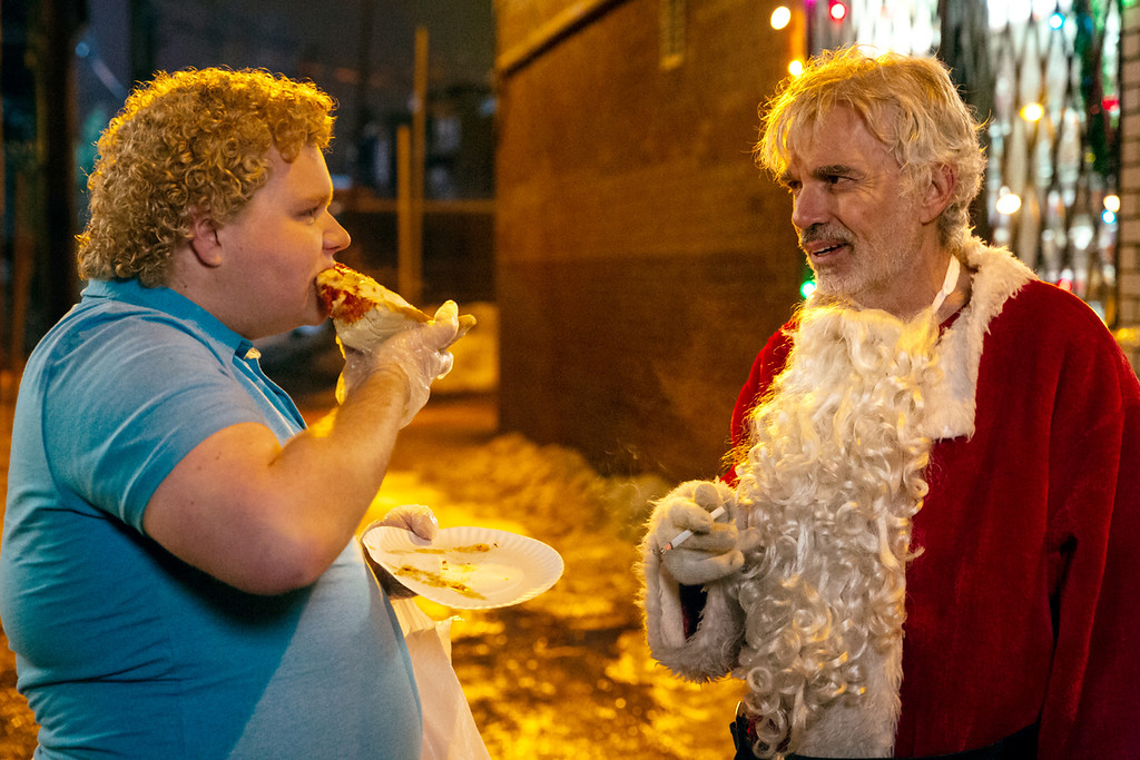 . Brett Kelly, left, and Billy Bob Thornton are back together in �Bad Santa 2,� in theaters Nov. 23. (Miramax)