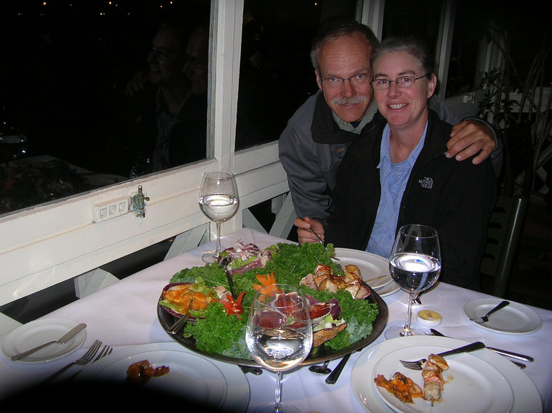 Seafood appetizer tray: Drunken scallops, seafood salad, shrimp kabob and ???