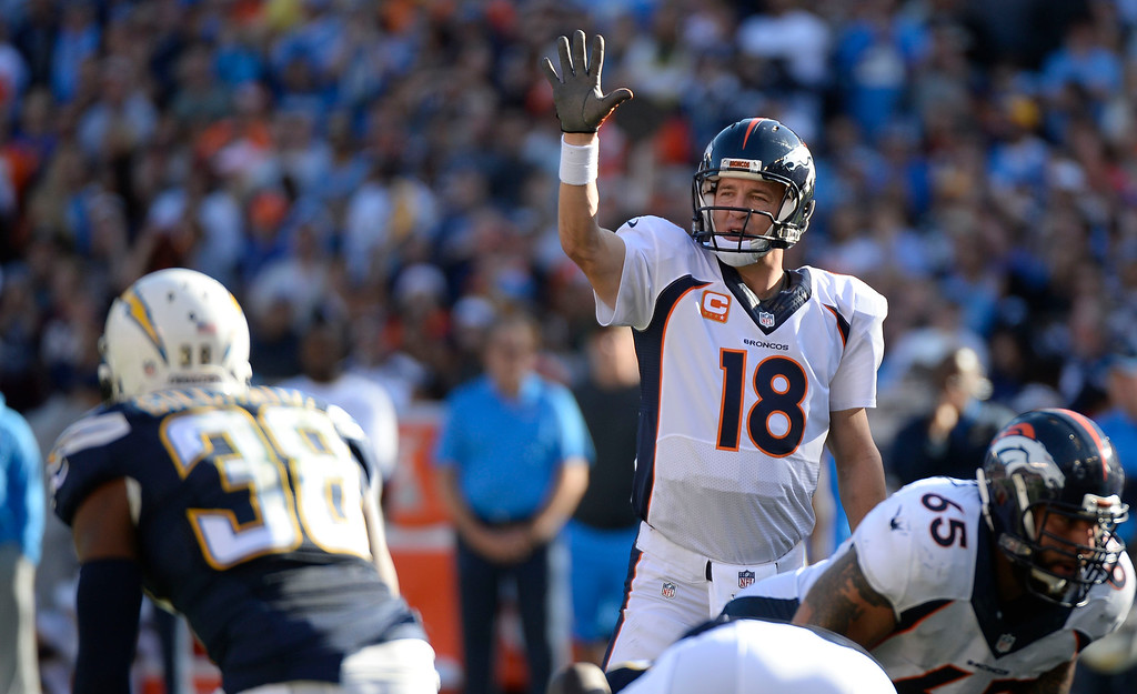 . SAN DIEGO, CA - DECEMBER 14: Denver Broncos quarterback Peyton Manning (18) checks off at the line of scrimmage agains the San Diego Chargers during the second squatter December 14, 2014 at Qualcomm Stadium (Photo By John Leyba/The Denver Post)