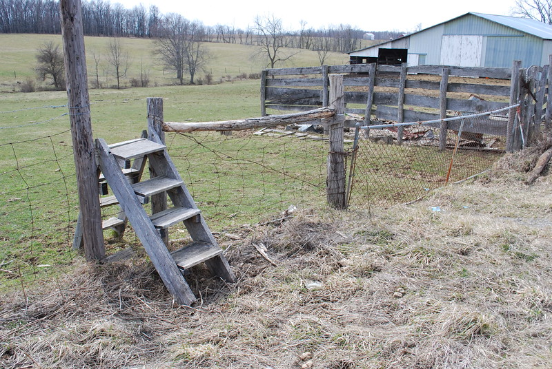 A fence stile along Pleasant Valley Road