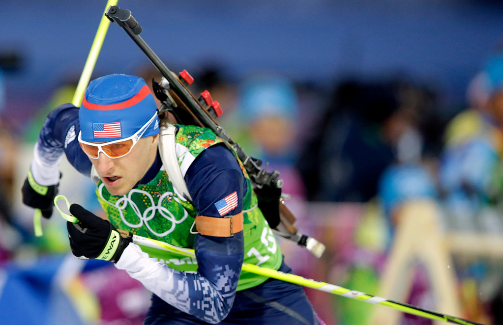 . United States\' Russell Currier skis during the men\'s biathlon 4x7.5K relay at the 2014 Winter Olympics, Saturday, Feb. 22, 2014, in Krasnaya Polyana, Russia. (AP Photo/Lee Jin-man)