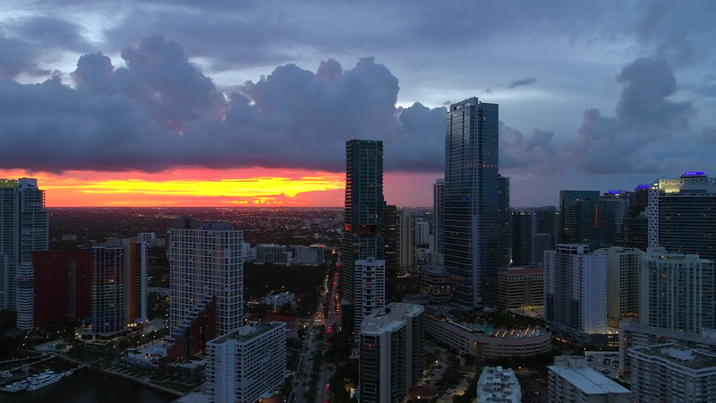 Aerial shot Miami sunset and city 4k 24p