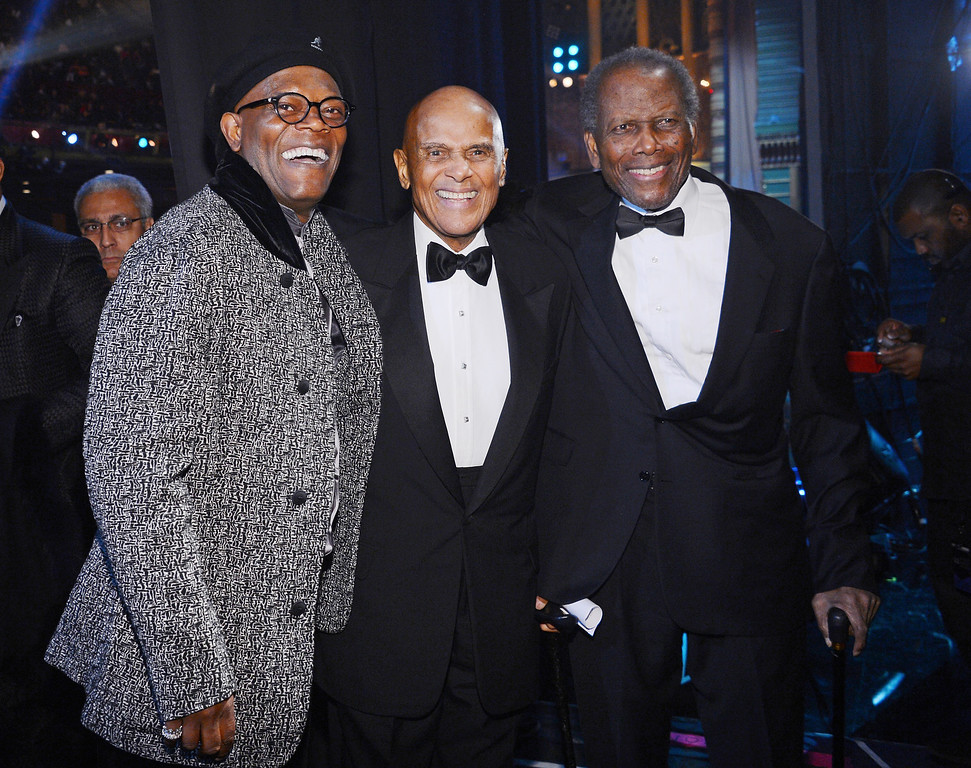 . LOS ANGELES, CA - FEBRUARY 01:  (l-R) Harry Belafonte;Sidney Poitier;Samuel L. Jackson, Harry Belafonte and Sidney Poitier attend the 44th NAACP Image Awards at The Shrine Auditorium on February 1, 2013 in Los Angeles, California.  (Photo by Mark Davis/Getty Images for NAACP Image Awards)