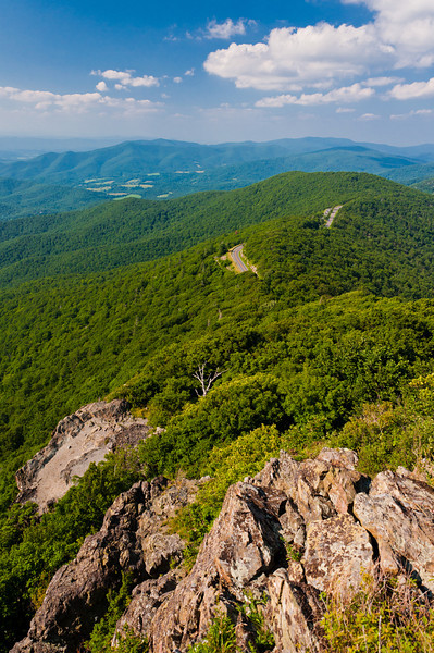 View of the Blue Ridge Mountains from cliffs on Little Stony Man Mountain,  in Shenandoah National Park, Virginia.