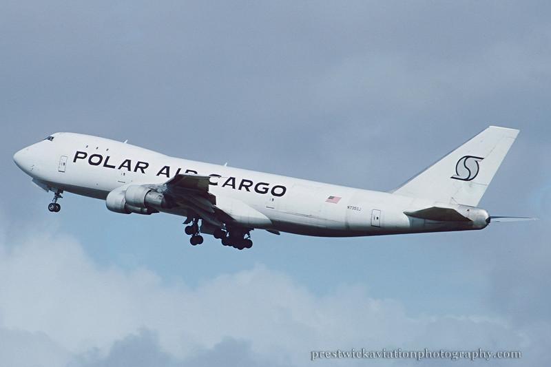 N735SJ. Boeing 747-121(A/SF). Polar Air Cargo. Prestwick. April 1994.