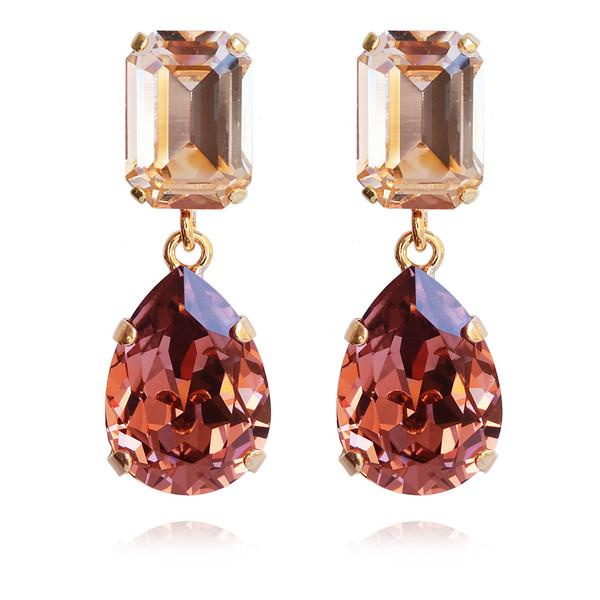 Lydia Short Earrings / Blush Rose + Light Peach / Gold