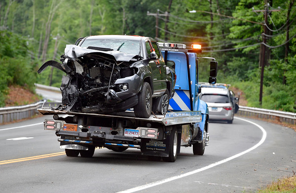 8/21/2019 Mike Orazzi | Staff The scene of a two-vehicle crash involving a minivan and a pickup truck sending all five occupants to area hospitals and the closing of Route 6 between Route 10 and Fienemann Road in Farmington on Wednesday afternoon.