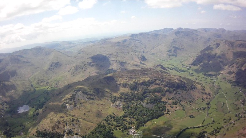 Little and Great Langdale. Tree'd bowl of Lingmoor in centre.