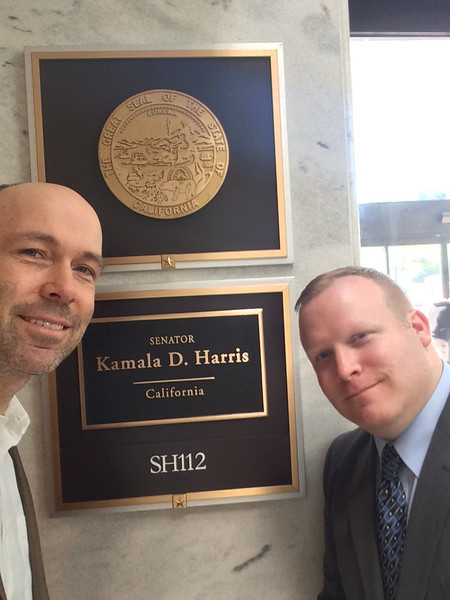 Josh Ottum and Andrew Bond prepare to visit the office of Sen. Kamala D. Harris (D-CA).