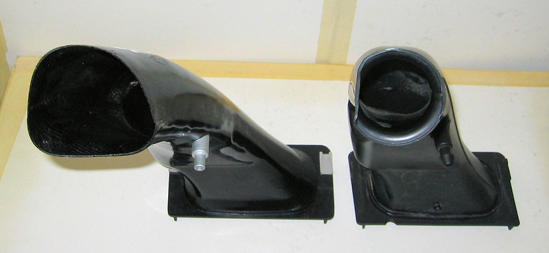 BMW R1200GS standard air intake (right) vs Wunderlich Performance Air Intake (left)