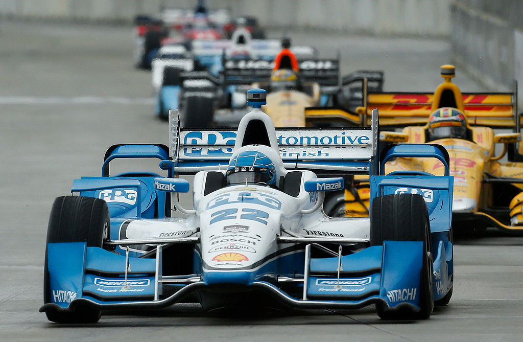 . Simon Pagenaud drives during the second race of the IndyCar Detroit Grand Prix auto racing doubleheader Sunday, May 31, 2015, in Detroit. (AP Photo/Paul Sancya)