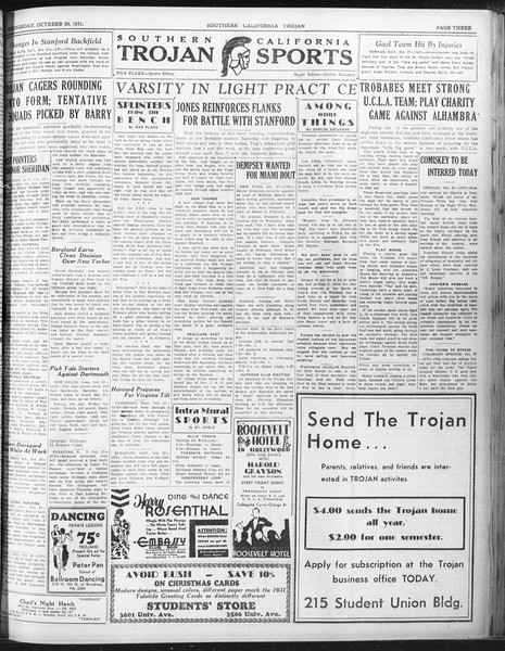 Daily Trojan, Vol. 23, No. 34, October 28, 1931