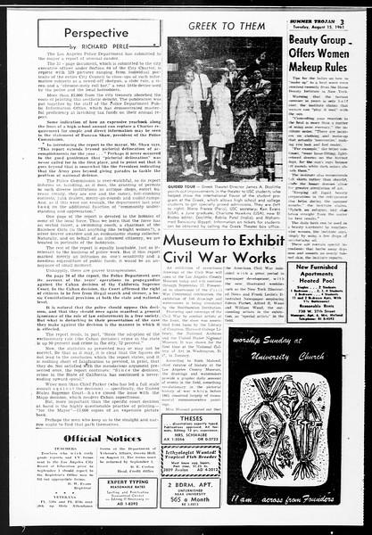 Summer Trojan, Vol. 11, No. 14, August 15, 1961