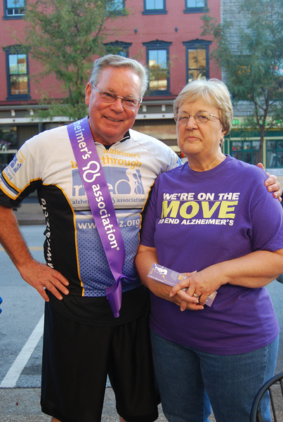 Board President of the Alzheimer's Association Mid-Missouri Chapter Dr. David Oliver poses with Linda Newkirk, Executive Director.