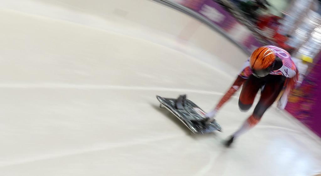 . John Fairbairn of Canada starting during the Men\'s Skeleton Heat 1 at Sliding Center Sanki at the Sochi 2014 Olympic Games, Krasnaya Polyana, Russia, 14 February 2014.  EPA/TOBIAS HASE