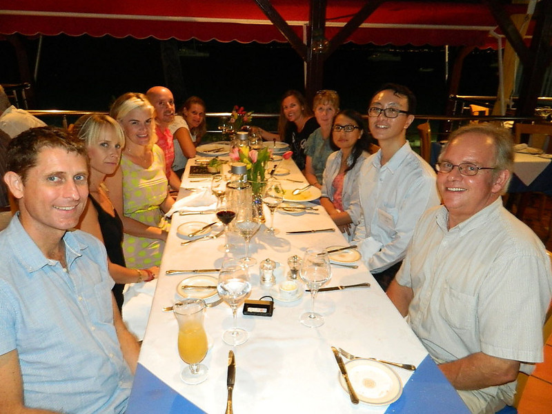 Our first group dinner in a French restaurant overlooking the Caribbean sea