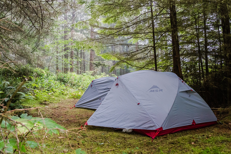 MSR Tent camp on Vancouver Island, Canada