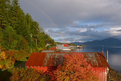 Rooftop View with Rainbow October 2013, Cynthia Meyer, Tenakee Springs, Alaska