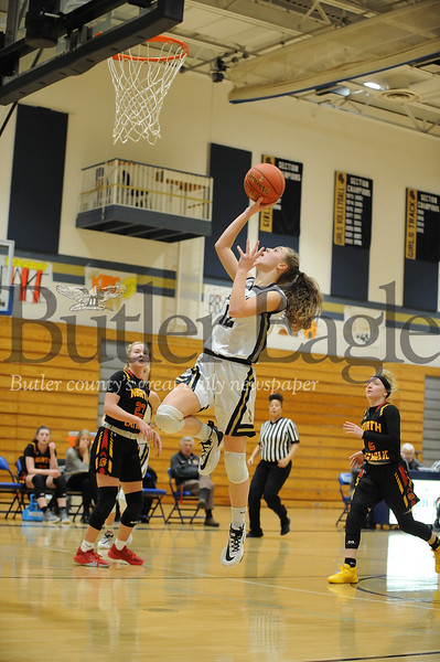 Knoch #12 Abbey Shearer goes for the jump shot during a game at Knoch Gym on Monday January 13, 2020 (Jason Swanson photo)
