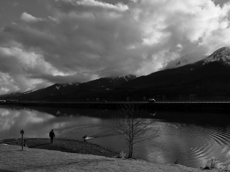 We had mostly rainy weather during my black and white time, but on my drive into town sometimes the sun would break through for a while. This shows Twin Lakes with the main highway  and the channel behind it.
