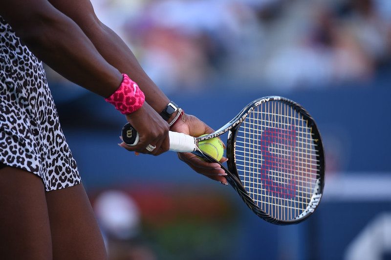. Serena Williams of the US prepares to serve to Caroline Wozniacki of Denmark during their US Open 2014 women\'s singles finals match at the USTA Billie Jean King National Center September 7, 2014  in New York. STAN HONDA/AFP/Getty Images
