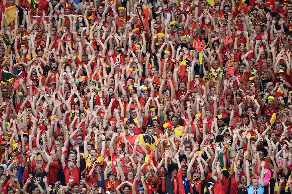 . Belgian supporters cheer for their team during the Group H football match between Belgium and Russia at The Maracana Stadium in Rio de Janeiro on June 22, 2014, during the 2014 FIFA World Cup. KIRILL KUDRYAVTSEV/AFP/Getty Images