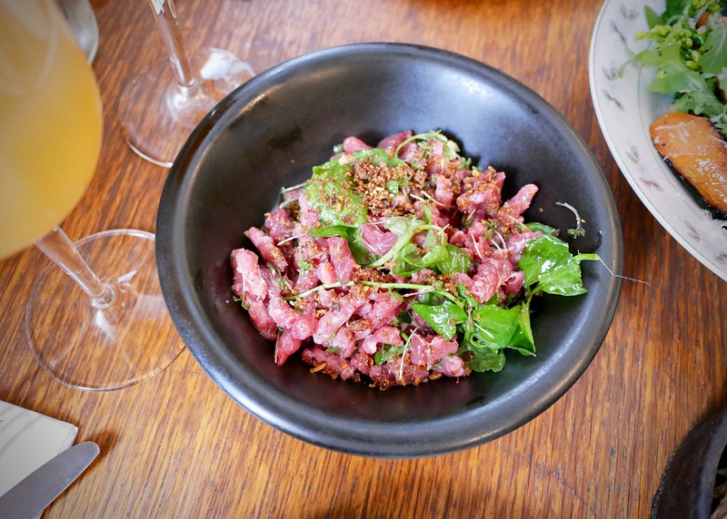 Manfred's infamous beef tartare with cress & rye bread. Incredible.