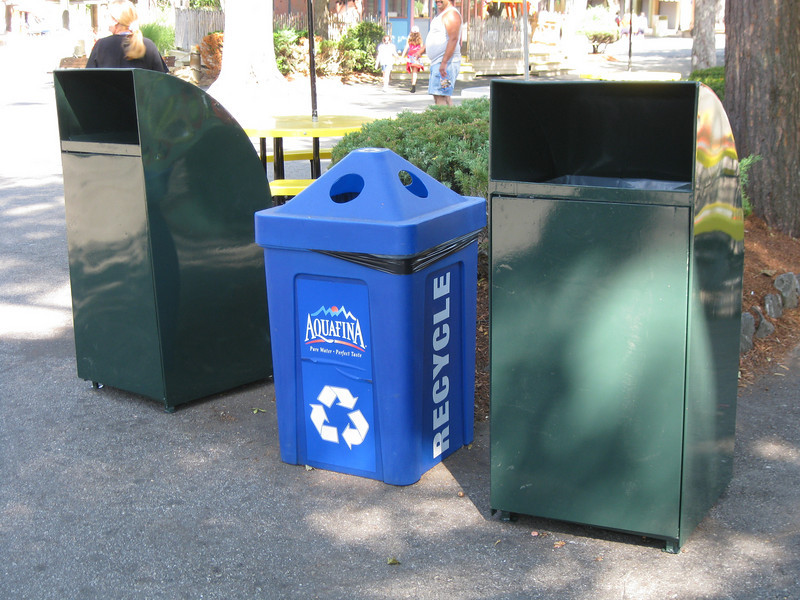 Trash cans have been repainted. There are new recycling bins.