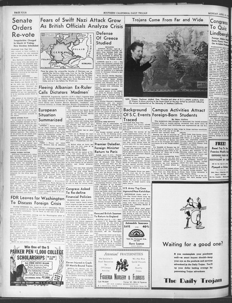 Daily Trojan, Vol. 30, No. 111, April 10, 1939