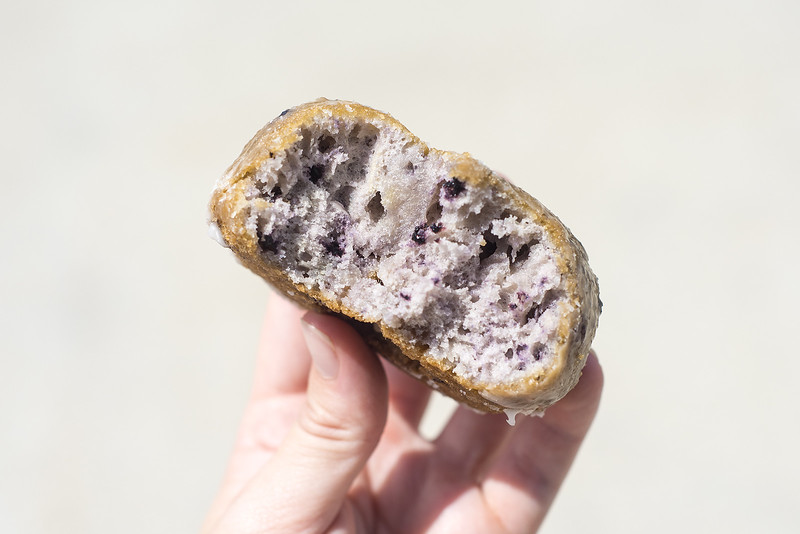 A blueberry donut at UT Donuts & Tacos in Tyler, Texas, on Wednesday, Aug. 23, 2017. The new restaurant serves donuts, kolaches, tacos, seafood and more across from The University of Texas at Tyler's campus. (Chelsea Purgahn/Tyler Morning Telegraph)